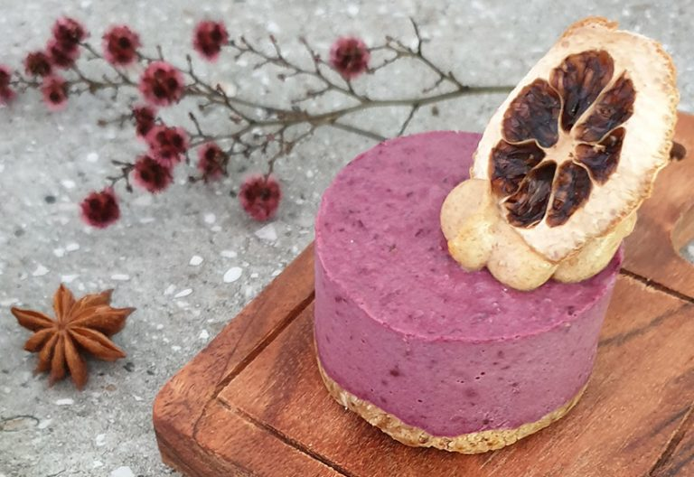 blackcurrant kaffir lime cheesecake