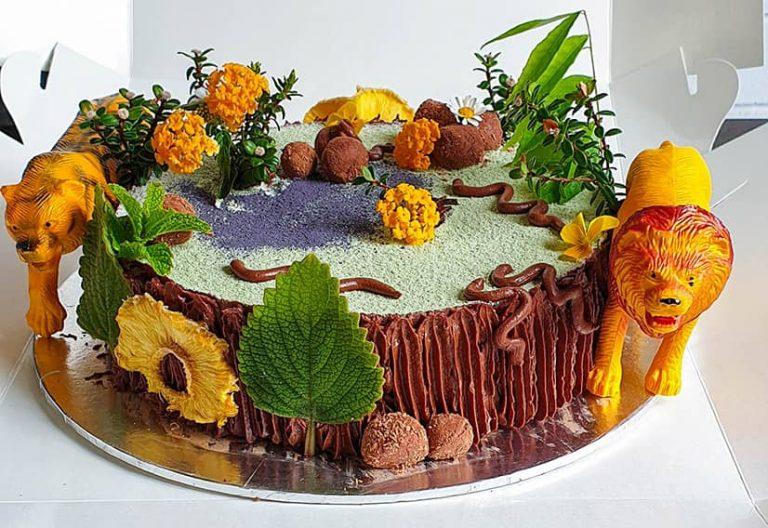 Chocolate cheesecake jungle theme