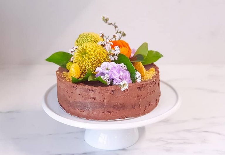 Choc Torte With Chocolate Filling and Native Blooms