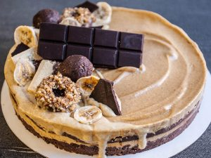 Chocolate torte with caramel filling