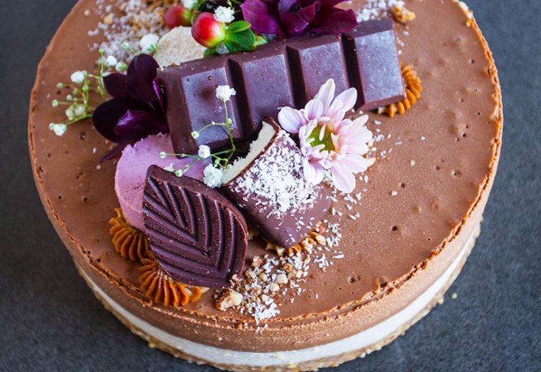 Classic chocolate vanilla cheesecake