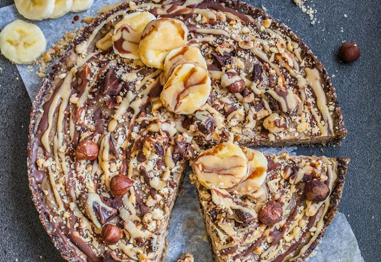 Hazelnut banana caramel tart