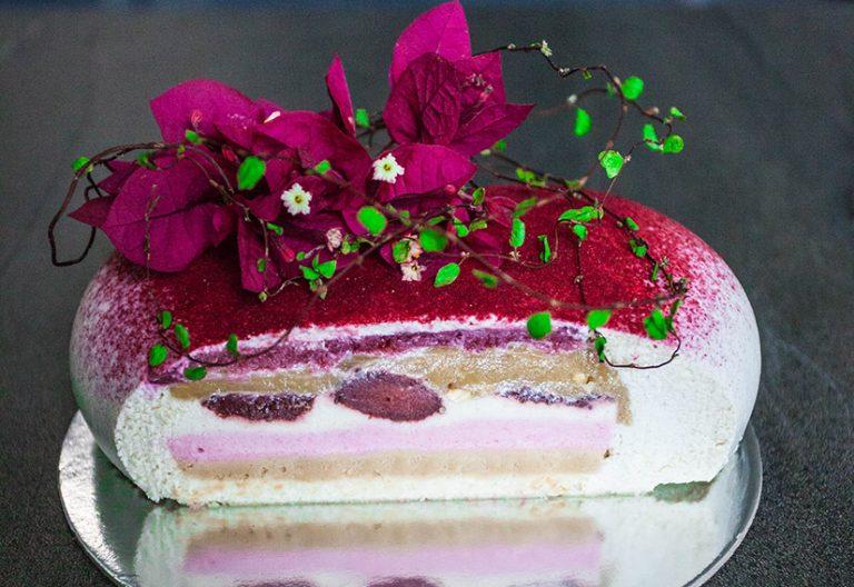 Strawberries and cream love heart cake