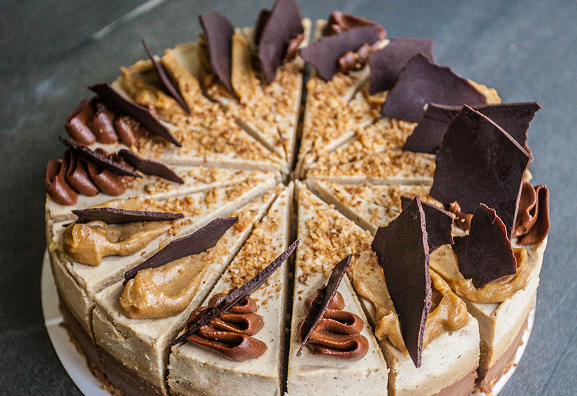 Triple layered mocha cheesecake