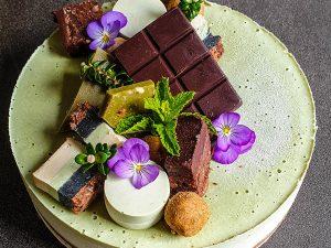 White chocolate and peppermint matcha cheesecake