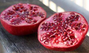 Pomegranate sliced in half.