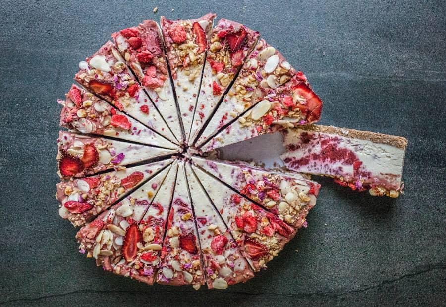 Raw Strawberries and Cream Cheesecake